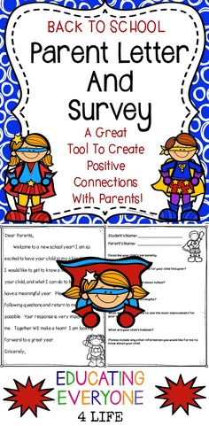 Welcome Back To School! This is a back to school parent letter and parent survey.  This back to school item will help you build a positive relationship between home and the classroom! #teachers