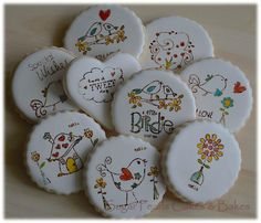 Little Birds and Flowers Stamped and Painted Cookies | Sugar Pearls Cakes and Bakes