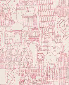Globetrotter  Pink wallpaper by Clarke & Clarke