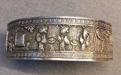 Antique Chinese Pure Silver Bracelet 7/8 Inch Wide Figurative Design