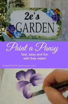 How to Paint a Pansy, FlowerPatchFarmhouse.com, a step by step painting lesson using acrylic craft paint. An easy to follow demonstration with a complete video painting three pansies and the leaves.