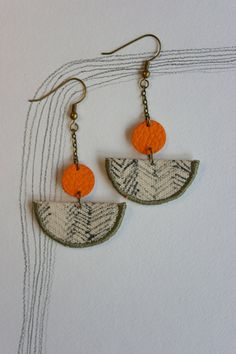 Ebbe Earrings  Taupe and Bright Orange by NookoftheNorth on Etsy, $25.00