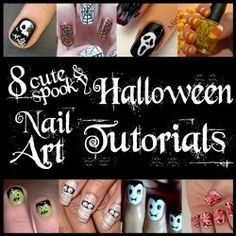 Dress up your nails in their own little costumes for Halloween! Great DIY nail art manicure tutorials