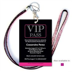 VIP Invitation w/Pink Jeweled Lanyard | QuinceaneraCards.net | Quantity Selection