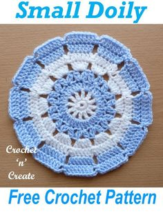 Small pretty doily ideal for a beginner, get this free crochet pattern on #crochetncreate #freecrochetpatterns #crochet #diy #crochetdoily #crochetmats