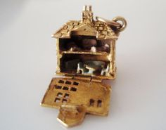 9ct Gold Dolls House & Enamel Furniture Charm by TrueVintageCharms, £145.00