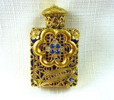 Collectable Blue Glass,Gold Filigree Rhinestone Perfume Bottle & Glass Dauber #Unbranded #PerfumeBottle