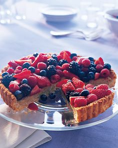 Almond-Coconut Tart--A mixed-berry tart gets a jolt from apricot jam, a vanilla-almond filling, and a coconut crust that is unexpected yet reminiscent of a macaroon. Passover Desserts, Passover Recipes, Gluten Free Desserts, Just Desserts, Passover Food, Potluck Desserts, Jewish Recipes, Coconut Tart, Berry Tart