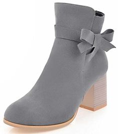 Women's Stylish Faux Suede Round Toe Side Zipper Short Boots Shoes Block Medium Heel Ankle Booties