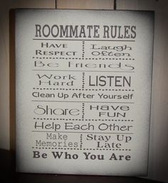 Items Similar To Senior 2019 Roommate Rules Great For Dorm Room At College Or Apartment Wood Sign On Etsy
