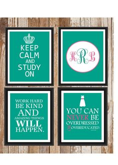 Dorm Decor Custom Colors 4 Print Set. This will be in Maeve and mine's room next year!