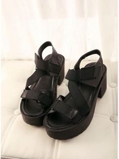 aa066223c65957 2014 Summer Korean Newest Fashion Popular Velcro Chunky Color Black Joker  Platform Sandals Asian Fashion