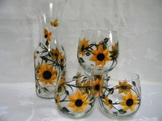 Hand painted wine decanter set with sunflowers by Morningglories1, $50.00