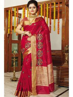 Smashing Red Floral Silk Saree