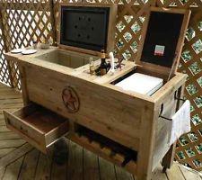 Wooden Patio Cooler Outdoor Furniture BBQ Coleman Ice Chest Wine Bottle Rack Bin