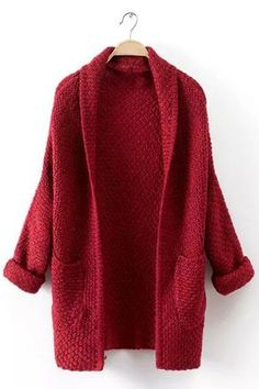 To find out about the Red Long Sleeve Pockets Knit Cardigan at SHEIN, part of our latest Sweaters ready to shop online today! Cardigan Lang, Red Cardigan, Short Sleeve Cardigan, Long Cardigan, Cropped Sweater, Red Long Sleeve Tops, Cocoon Cardigan, Look Boho, Loose Fitting Tops