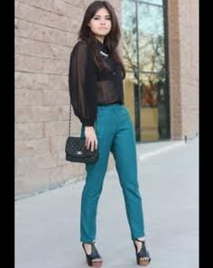 Black sheer shirt and turquoise