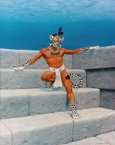 """When Kinich Ahau, the Sun God, sinks into the Western Ocean he transforms into the Night Sun Jaguar. He then makes his journey eastward through the dangerous underworld to rise again. Here we see him at the moment of transformation"", T.W. Rutledge"