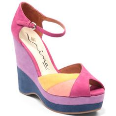 "Colorblock with the Nina Originals ""Shari"" $175.00. So fun for summer!"