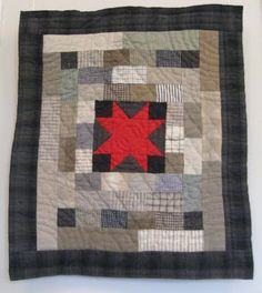 Welsh Quilt -neutral background with centre red star block