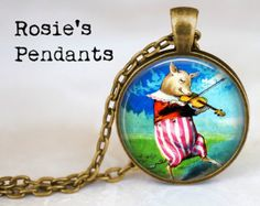 Vintage Pig with Fiddle - Fiddling Pig - Whimsical Jewelry - Pig Fiddler - Pig Jewelry - Gift for Pig Lover - Violin Jewelry - Violinist