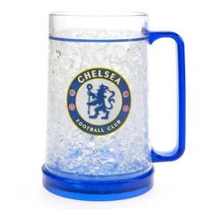Made from plastic, this Chelsea FC tankard can stay in the freezer until required and instantly make your drink icy cold. FREE DELIVERY on all of our merchandise Chelsea Football, Chelsea Fc, Chelsea Wallpapers, Online Gifts, Premier League, Freezer, Make It Yourself, Mugs, Plastic