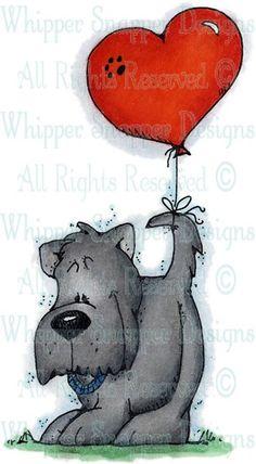 Schnauzer & Balloon - Dogs - Animals - Rubber Stamps - Shop