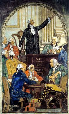 "Study for Mural - ""Washington at the Constitutional Convention"" by Violet Oakley. (1902) One of a series (THE CREATION AND PRESERVATION OF THE UNION) of large murals for the walls of the Governor's Reception Room in the State Capitol Building in Harrisburg, Pennsylvania."