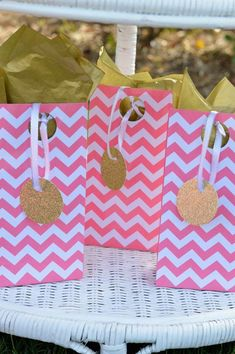 Chevron favor bags at a pink and gold birthday party! See more party planning ideas at CatchMyParty.com!