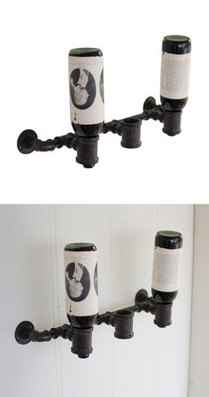 Elevate bare wall space in your bar, lounge, or designated hangout spot with this handsome wine bottle holder. Perfect for an industrial chic or rustic space, the Pipeline Wine Bottle Holder is handsom...  Find the Pipeline Wine Bottle Holder, as seen in the Beautifully Deconstructed Collection at http://dotandbo.com/collections/beautifully-deconstructed?utm_source=pinterest&utm_medium=organic&db_sku=113783