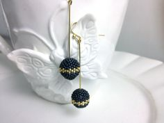 Frosted Charcoal Grey Beaded Bead with Gold by frompgwithlove, $27.00