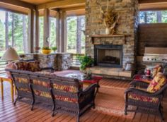 Adding elements of decor will make your screened porch feel just like another room in your home! Here are 10 ideas to turn your screened porch into an indoor-outdoor living room. Porch Fireplace, Fireplace Design, Fireplace Mantels, Fireplace Ideas, Unused Fireplace, Stone Fireplaces, Outdoor Fireplaces, Home Design, Interior Design