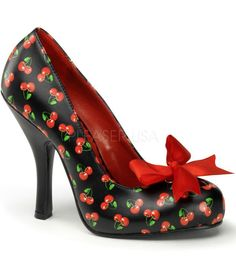 "These adorable Cutiepie cherry print pumps, made by Pinup Couture, have a red satin bow detail, 4 1/2 black heel and a 1"" concealed platform. The shoes tend to run small and are only available in whol"