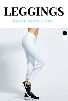 White slashed mesh athletic leggings.