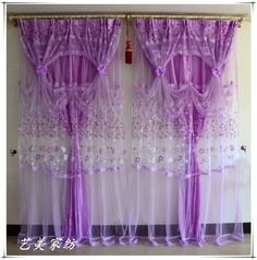 Living Room Curtains Swag Purple | 2014 Finished bedroom living room upscale Korean purple lace curtains ...