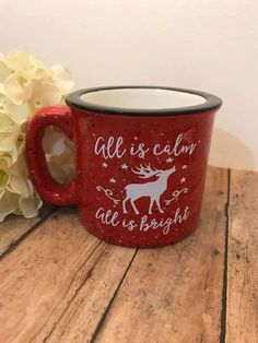 All is calm all is bright campfire mug, campfire mug, 15 ounce, all is calm all is bright coffee cup by Napcreations on Etsy