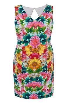 Plus Size Garden Mirror Print Dress