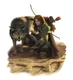 Female Human Ranger Archer Tracking with Wolf - Pathfinder PFRPG DND D&D 3.5 5th ed d20 fantasy