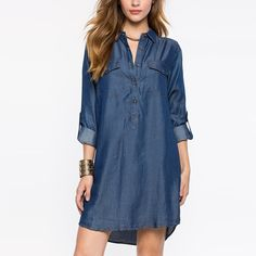 HDY Haoduoyi Summer Women Fashion European Style Simple Loose Single Breasted Mini Dress POLO Solid Pocket Denim Dress