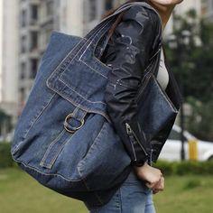 Elegante color sólido y Denim Diseño de la Mujer Bolsa de hombro