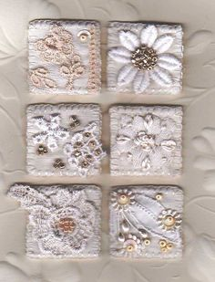 White fabric inchies by Rini Boer van der Gugten Fabric Art, Fabric Crafts, Sewing Crafts, Sewing Projects, Embroidery Stitches, Embroidery Patterns, Hand Embroidery, Small Quilts, Mini Quilts
