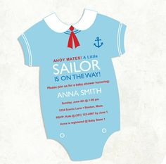 Boys Sailor Baby Shower Invitation  digital by FrillyJillyDesign