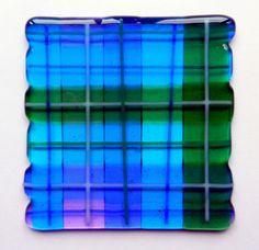 https://flic.kr/p/gT9dFq | bluegreen tartan glass coaster | fused glass coaster in blue and green tartan pattern