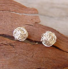 Wire Ball Post Earrings, Sterling Silver, Silver Post Earrings, Handmade Siver Stud Earrings. $33.00, via Etsy.