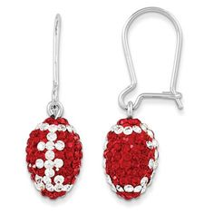 """These University of Wisconsin-Madison earrings scream """"Go Badgers"""" with Swarovski Crystal Elements displayed in an intricate football design! Officially Licensed Collegiate Product"""