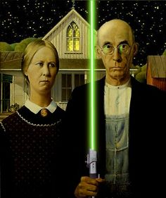 """American Gothic, Jedi-style.  """"Ma, I believe I may just have to cross to the dark side.""""  """"But Pa, think of the twins!"""""""