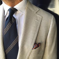 Viola Milano Multi Stripe handrolled Grenadine tie & handprinted silk pocket square…