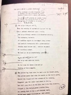 "In celebration of T.S. Eliot's birthday, his typescript of ""The Love Song of J. Alfred Prufrock,"" which appeared in the June 1915 issue of Poetry."