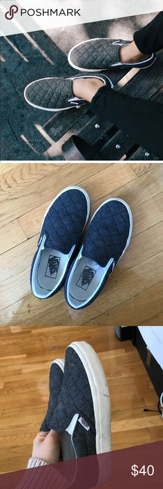 Madewell Vans Wool upper and rubber sole. Vans slip ons bought through madewell 2years ago. Very great condition just minor stains on the white soles as pictured on the last picture. US women 6 and men 4.5 runs true to size . Can be worn with socks Vans Shoes Sneakers