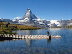 Alpine lake, with Matterhorn in the background, Switzerland.